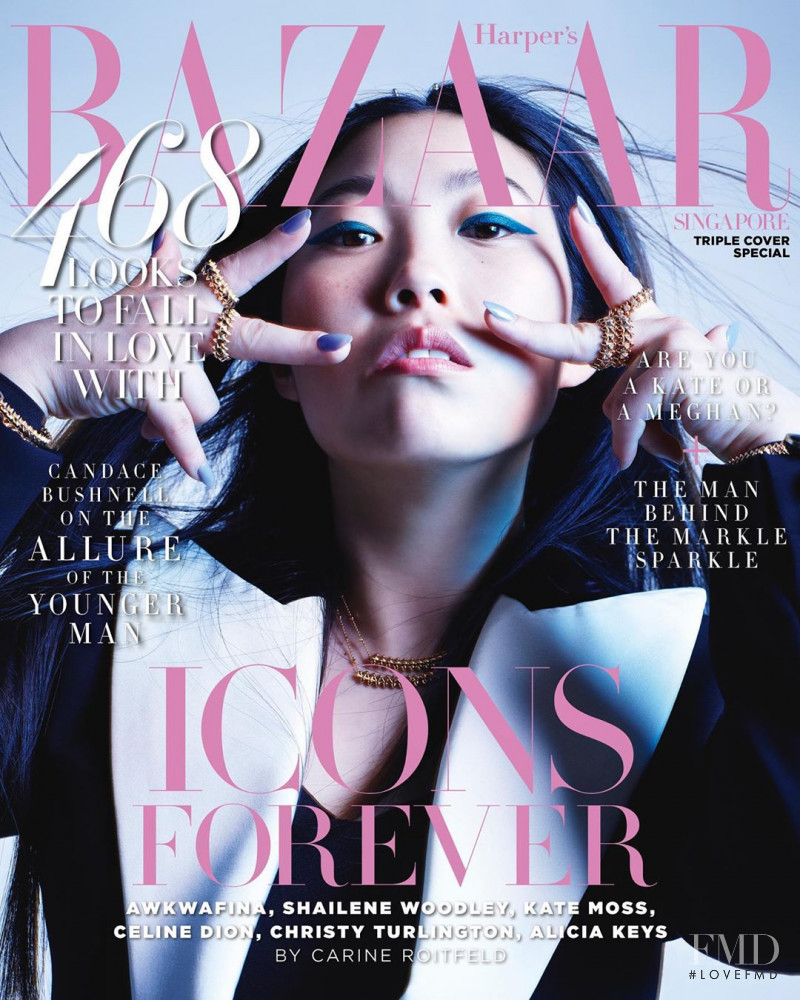 Nora Lum featured on the Harper\'s Bazaar Singapore cover from September 2019