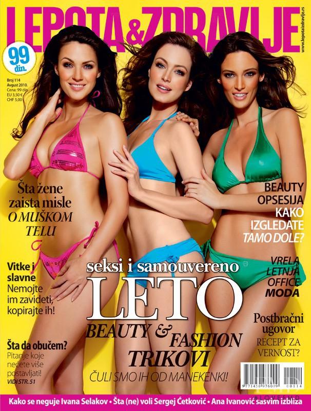 Tijana Sarenac, Jelena Kovacic, Bojana Barovic featured on the Lepota & Zdravlje Serbia cover from August 2010