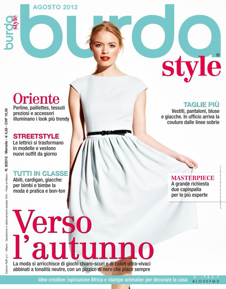 Sophie Reiser featured on the Burda Style Italy cover from August 2012