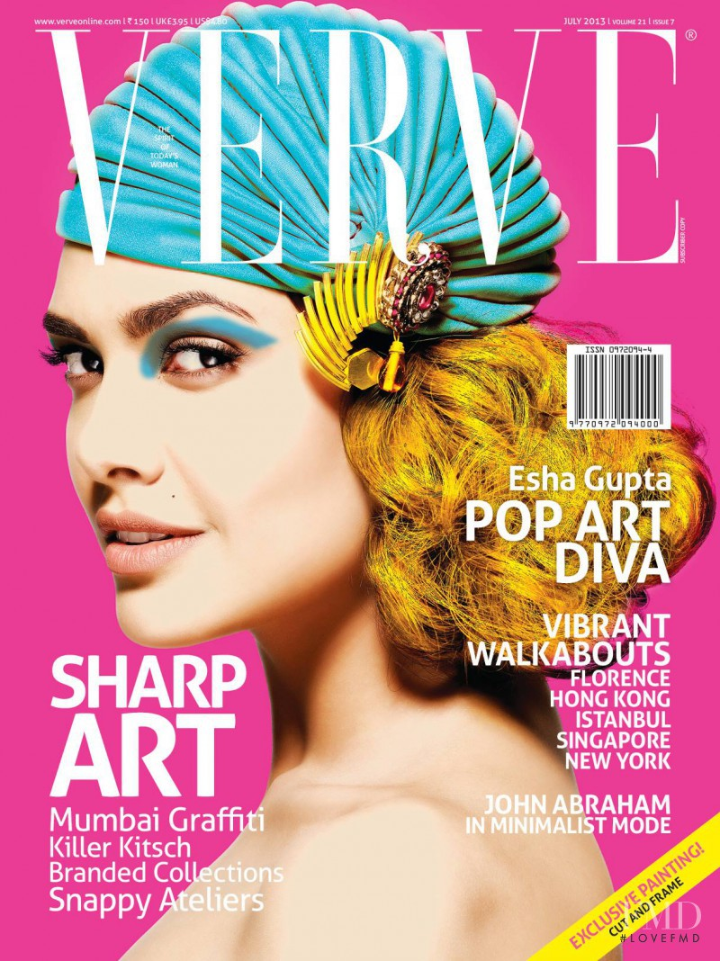 Esha Gupta featured on the Verve cover from July 2013