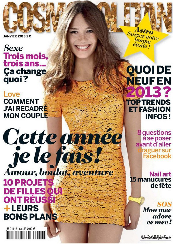 Sian Abbott featured on the Cosmopolitan France cover from January 2013