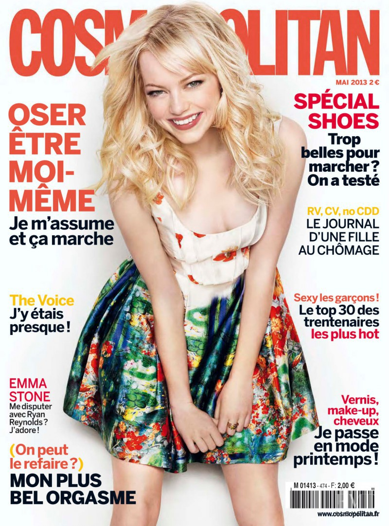 Emma Stone featured on the Cosmopolitan France cover from May 2013