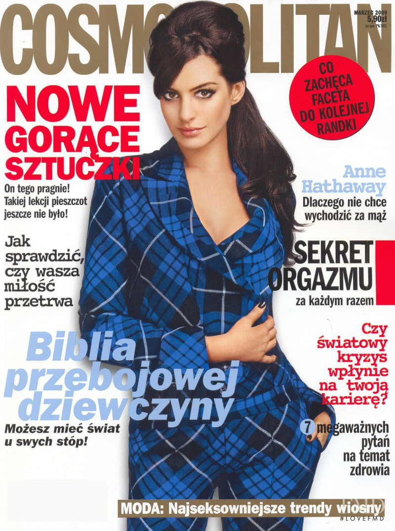 Anne Hathaway featured on the Cosmopolitan Poland cover from March 2009