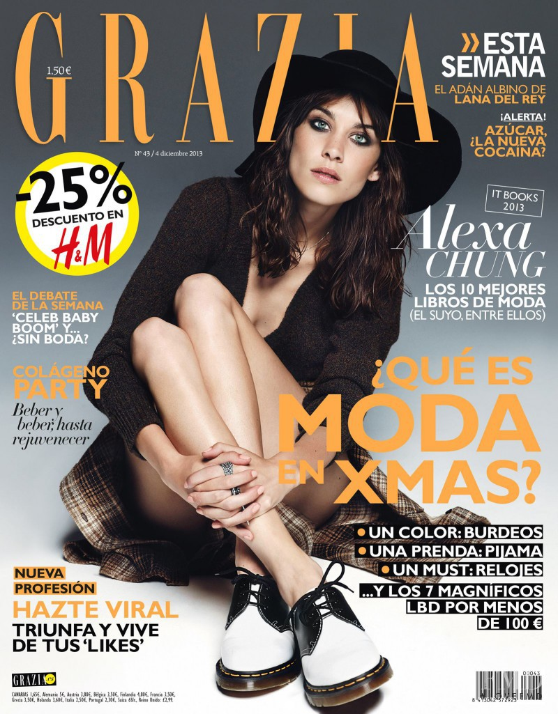 Alexa Chung featured on the Grazia Spain cover from December 2013