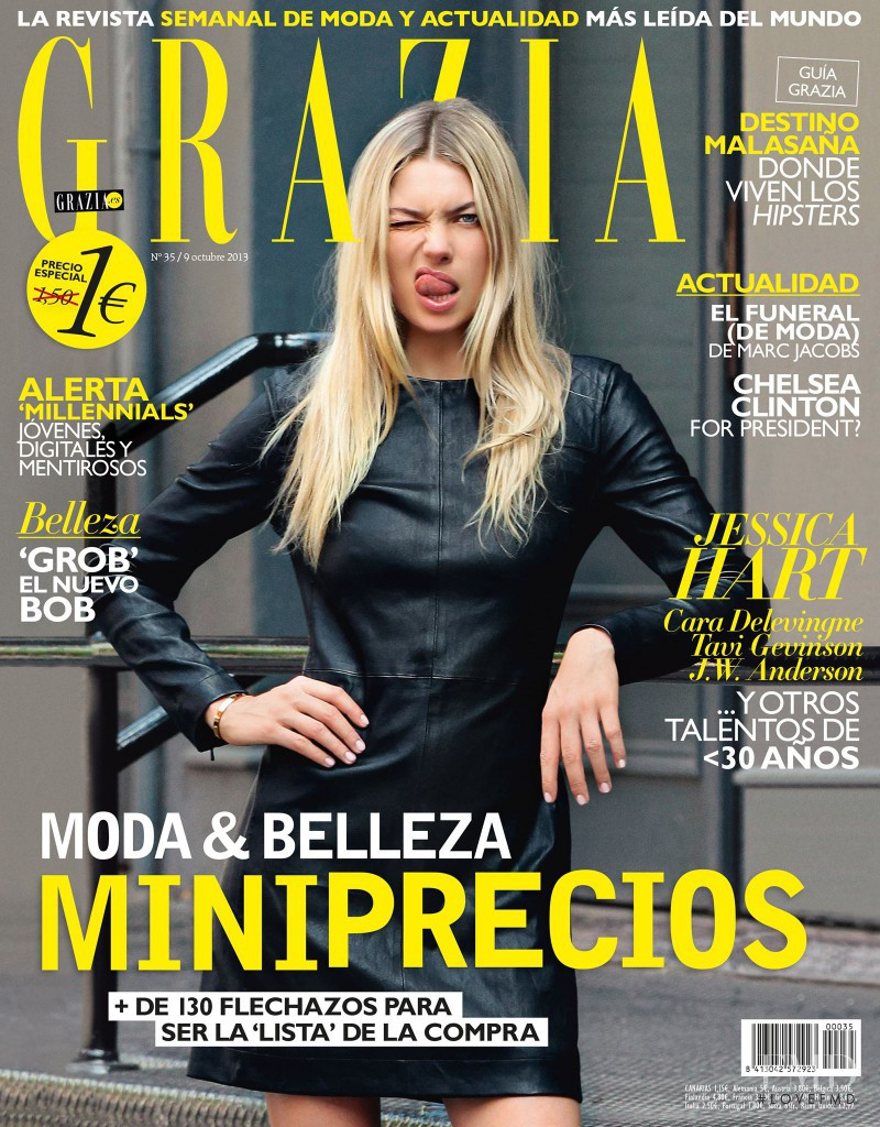 Jessica Hart featured on the Grazia Spain cover from October 2013