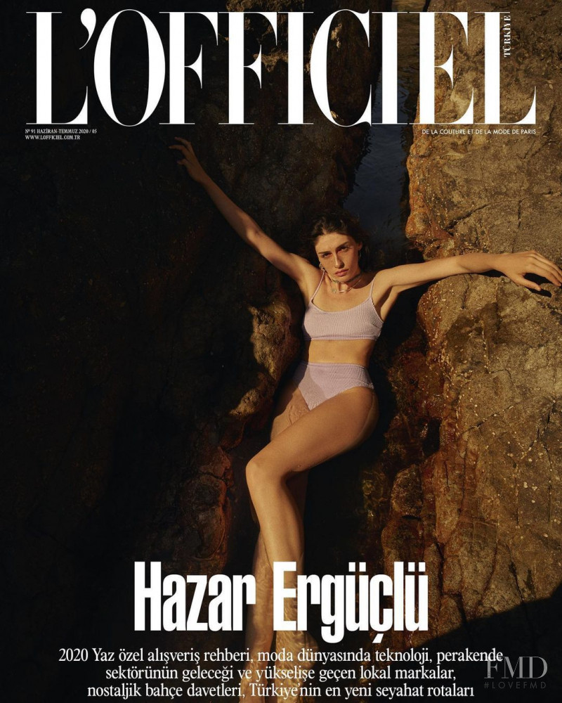 Hazar Erguclu featured on the L\'Officiel Turkey cover from June 2020