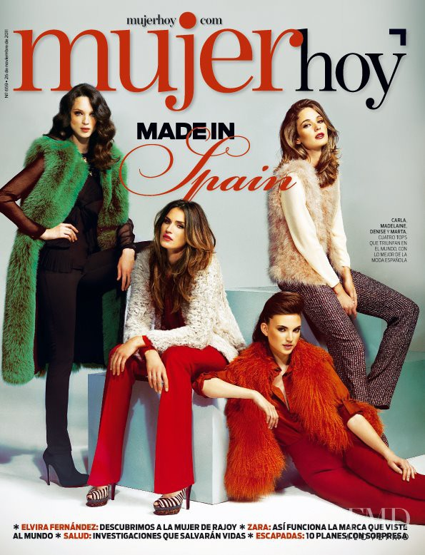 Madeleine Hjort, Marta Español, Denise Sommers, Carla Crombie featured on the Mujer Hoy cover from November 2011