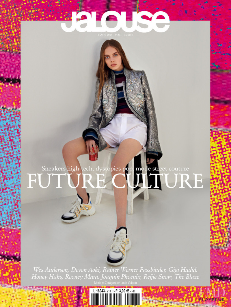 Mariana Zaragoza featured on the Jalouse cover from April 2018