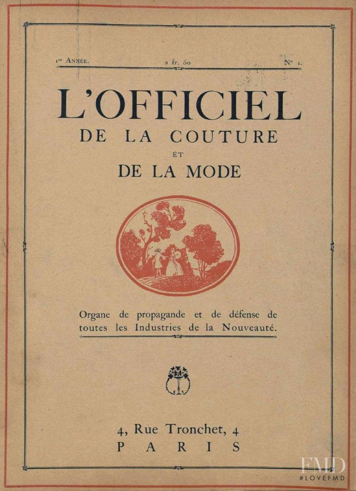 featured on the L\'Officiel France cover from January 1921