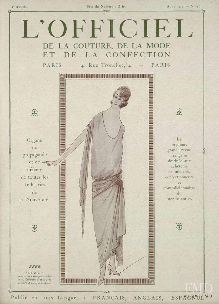 featured on the L\'Officiel France cover from August 1922