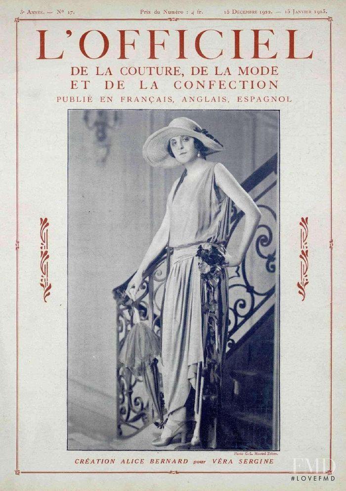 Véra Sergine featured on the L\'Officiel France cover from December 1922