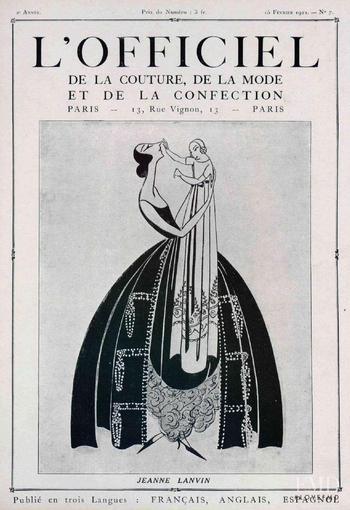 featured on the L\'Officiel France cover from February 1922