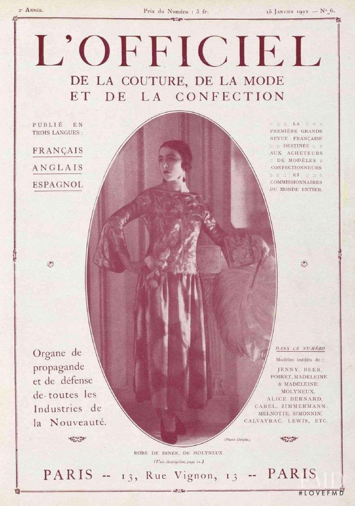 featured on the L\'Officiel France cover from January 1922