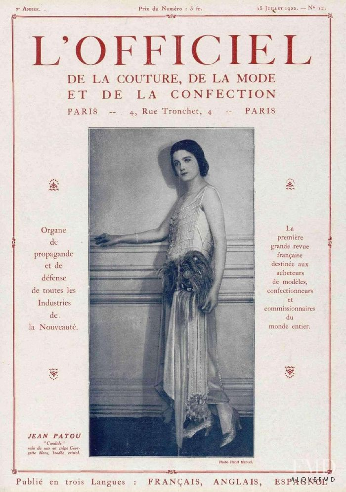 featured on the L\'Officiel France cover from July 1922