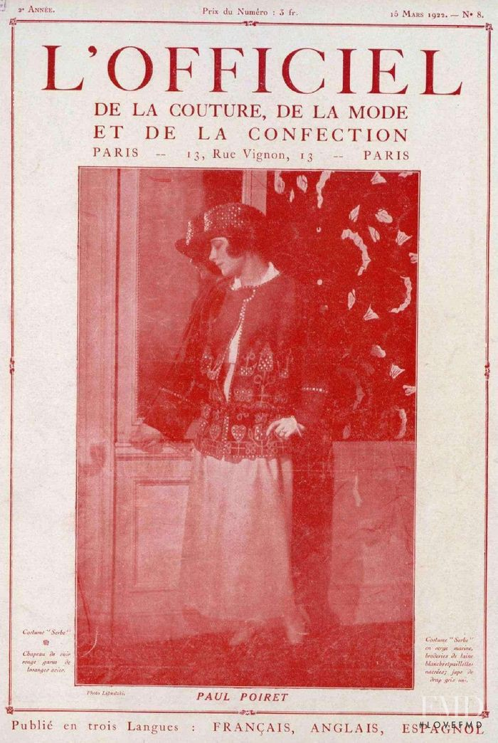 featured on the L\'Officiel France cover from March 1922