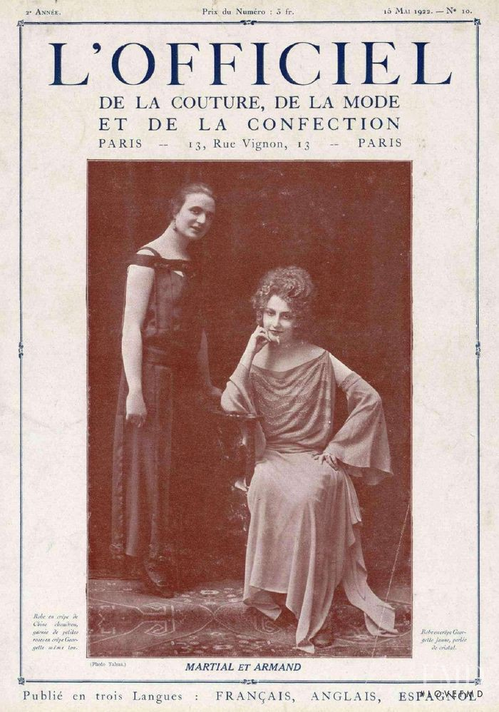 featured on the L\'Officiel France cover from May 1922