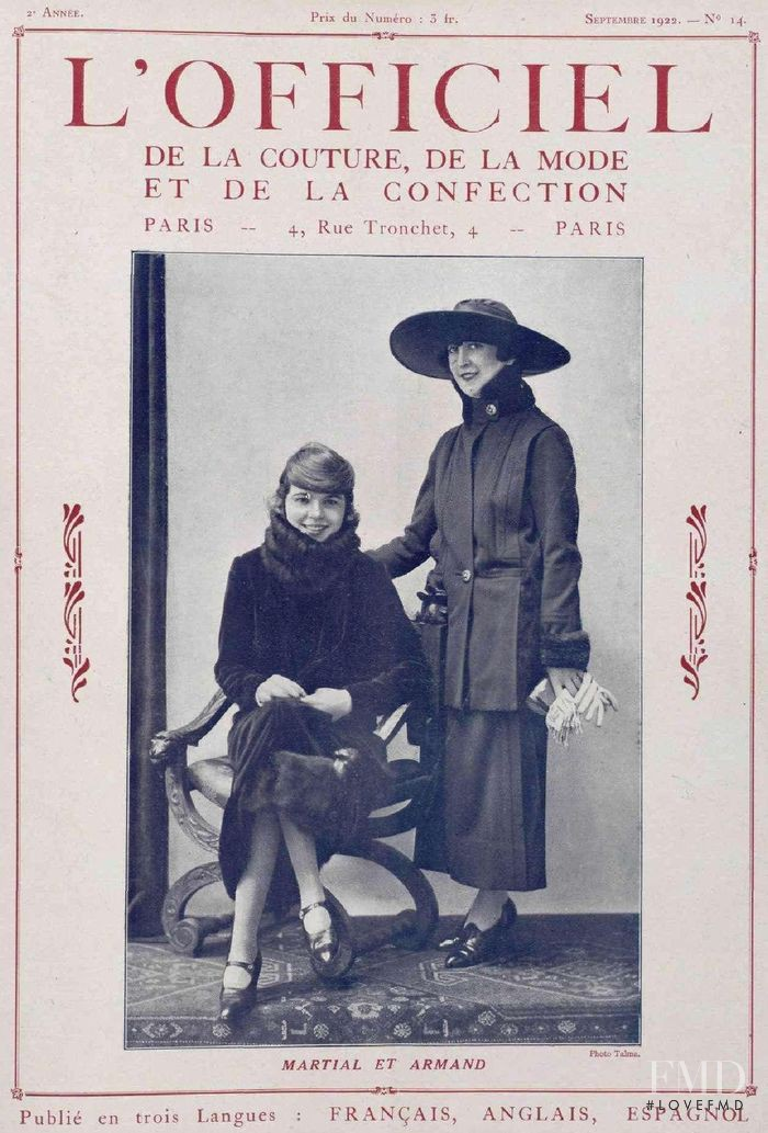 featured on the L\'Officiel France cover from September 1922