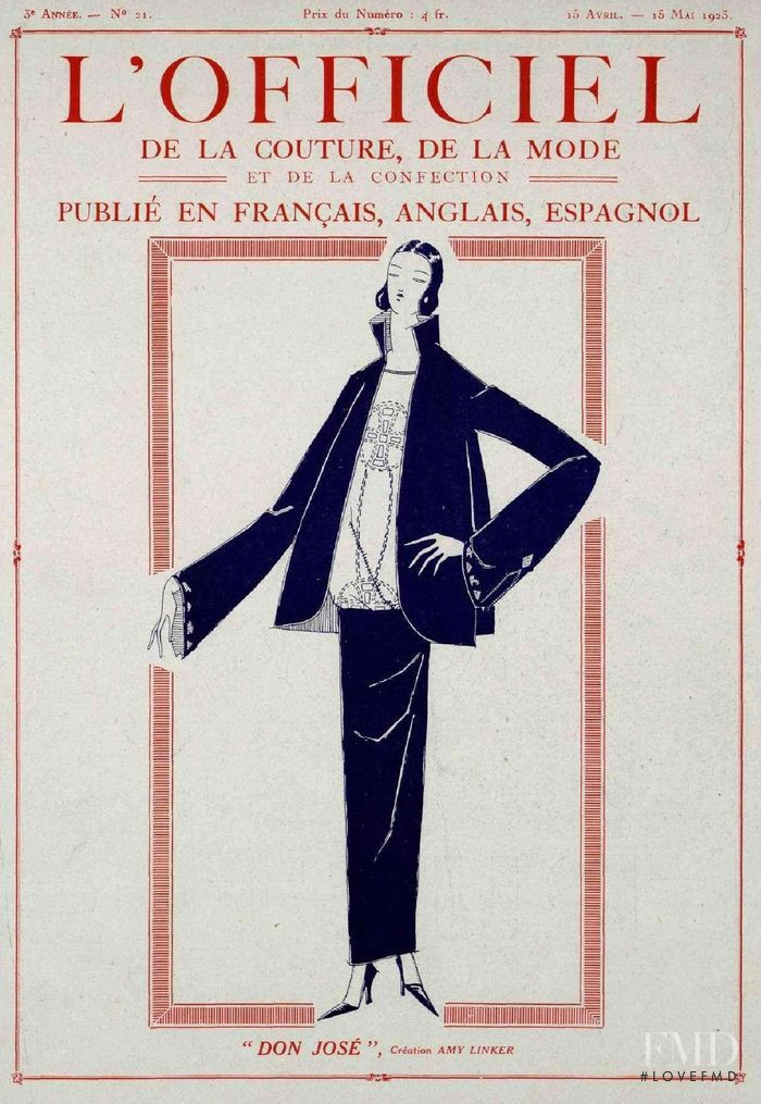 featured on the L\'Officiel France cover from April 1923