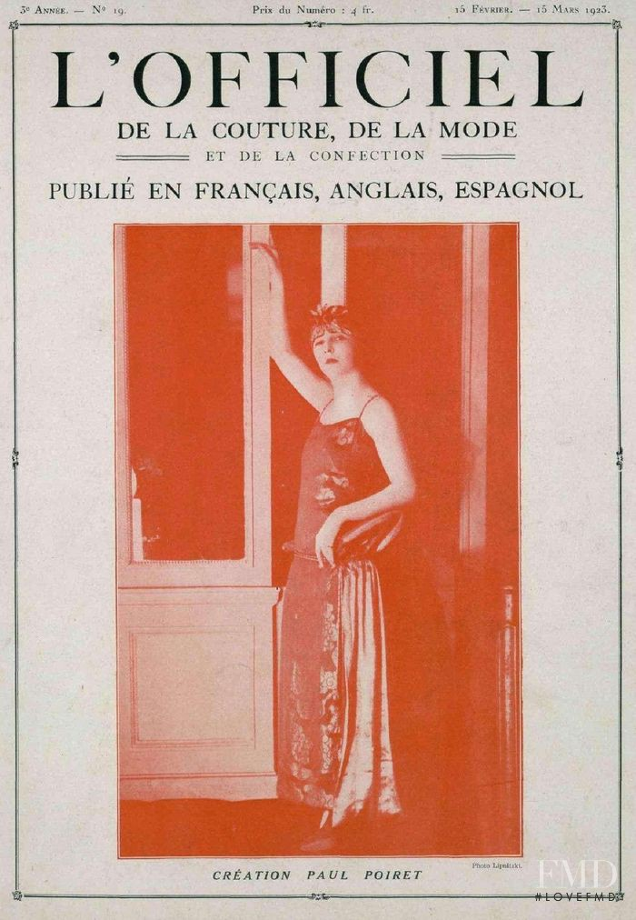 featured on the L\'Officiel France cover from February 1923