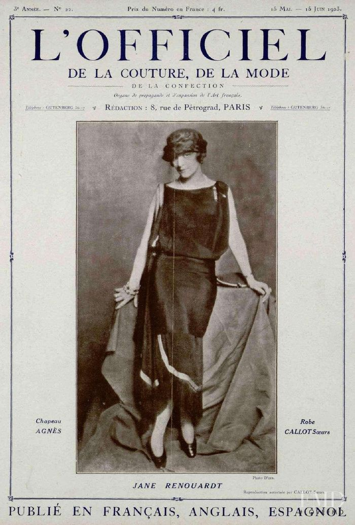 featured on the L\'Officiel France cover from May 1923