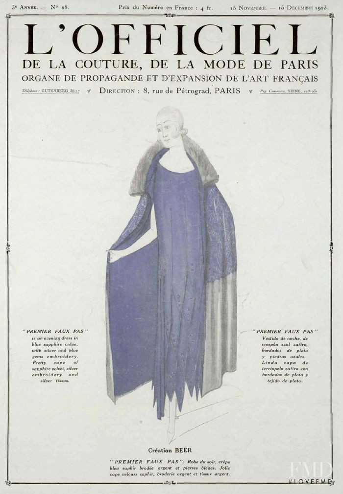 featured on the L\'Officiel France cover from November 1923
