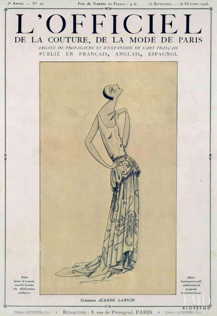 featured on the L\'Officiel France cover from September 1923