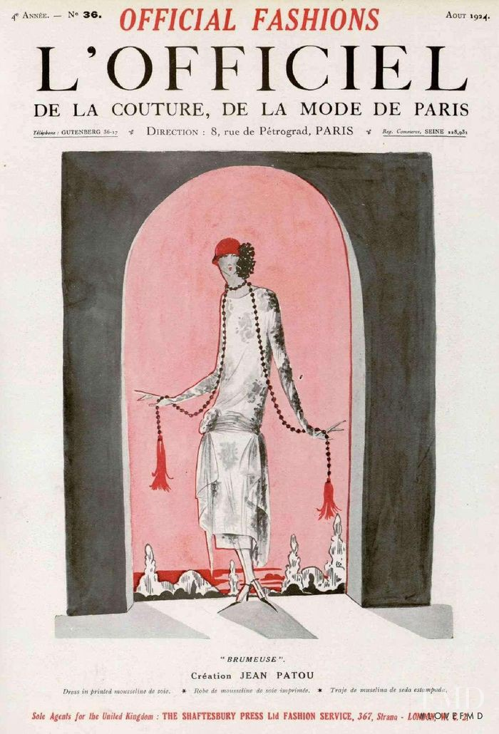 featured on the L\'Officiel France cover from August 1924
