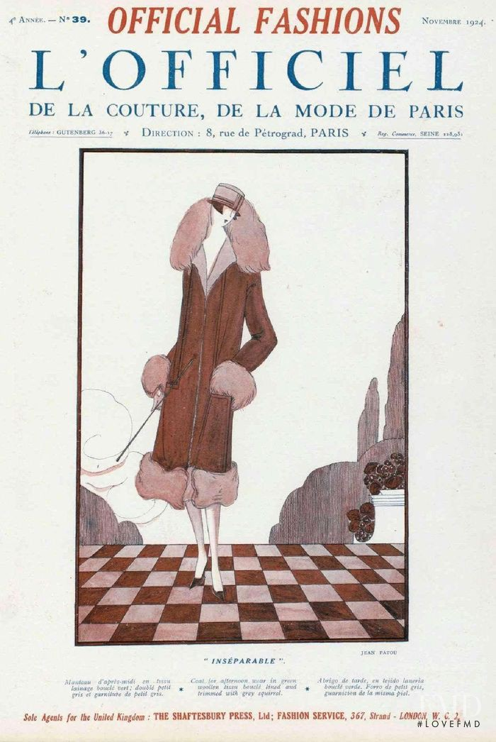 featured on the L\'Officiel France cover from November 1924