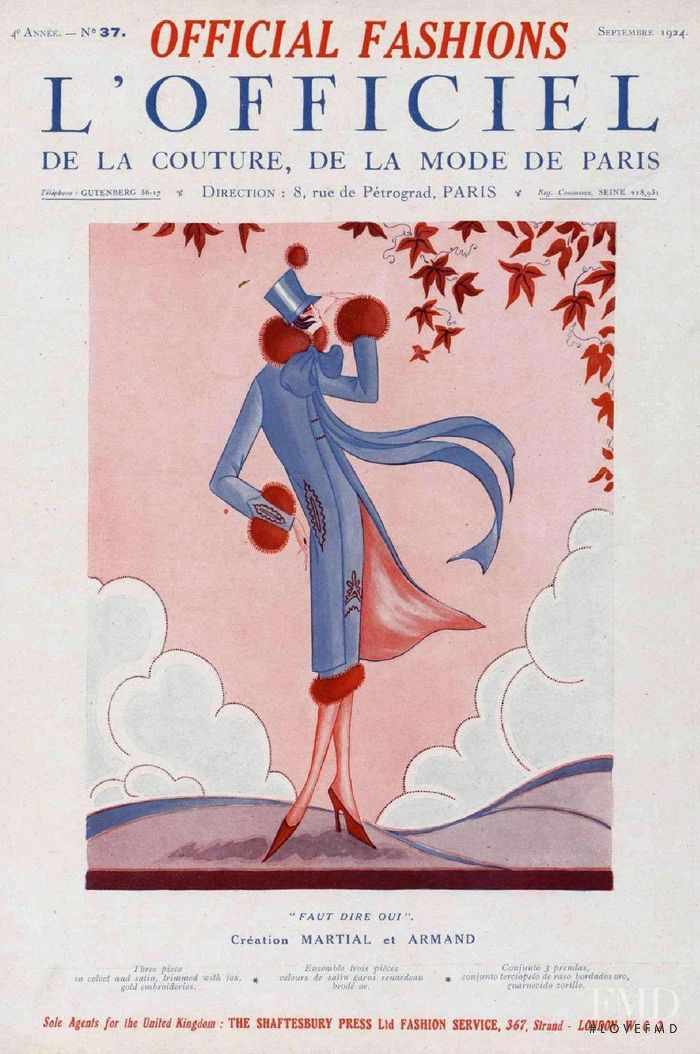 featured on the L\'Officiel France cover from September 1924
