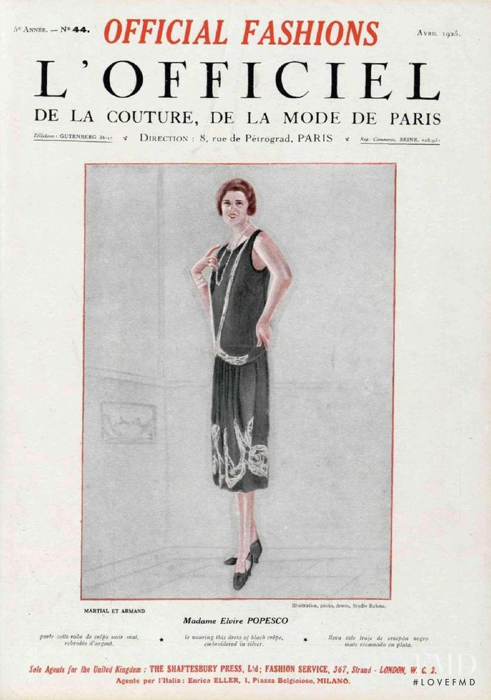 featured on the L\'Officiel France cover from April 1925
