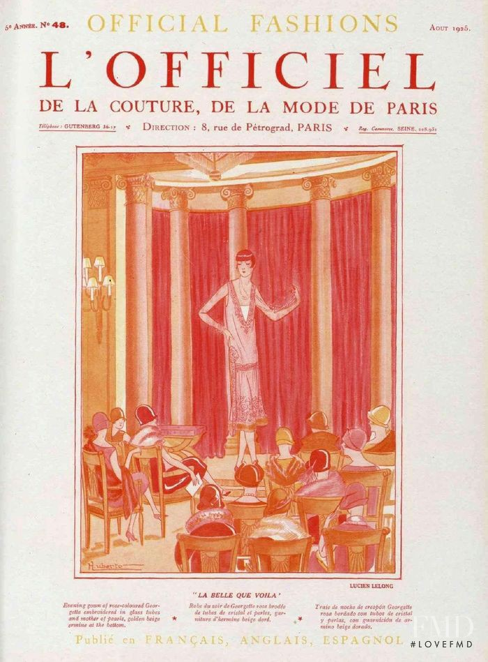 featured on the L\'Officiel France cover from August 1925