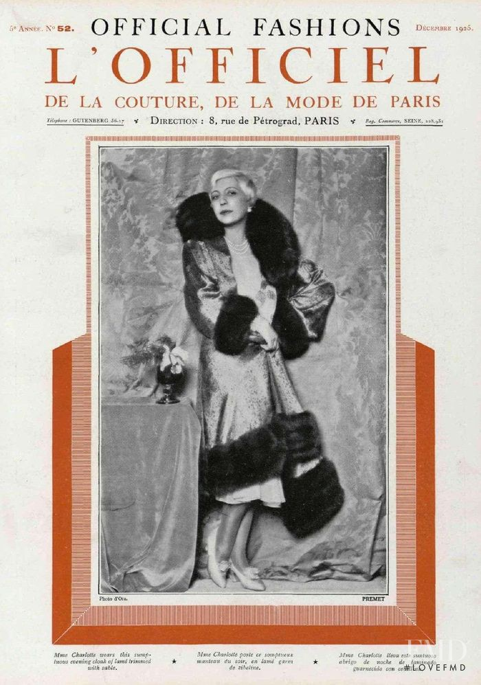 featured on the L\'Officiel France cover from December 1925