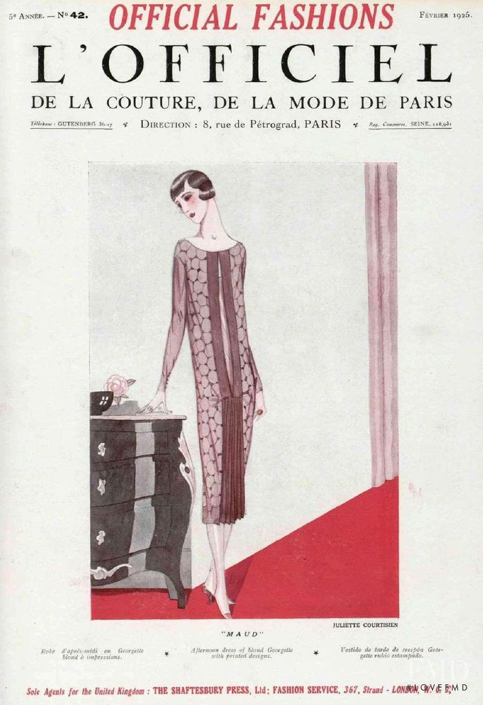 featured on the L\'Officiel France cover from February 1925