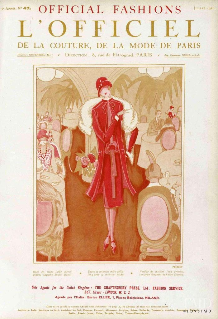featured on the L\'Officiel France cover from July 1925