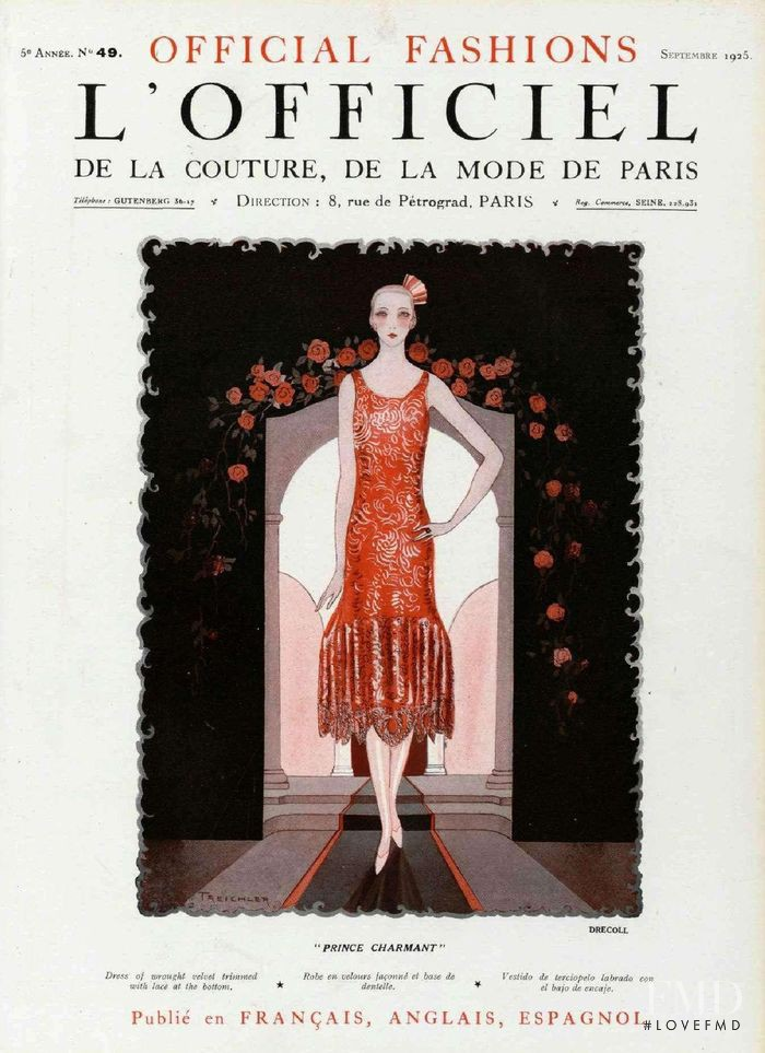 featured on the L\'Officiel France cover from September 1925