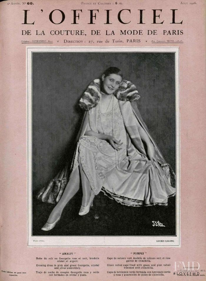 featured on the L\'Officiel France cover from August 1926