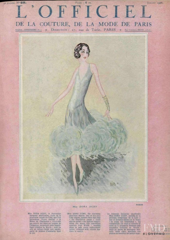 featured on the L\'Officiel France cover from July 1926