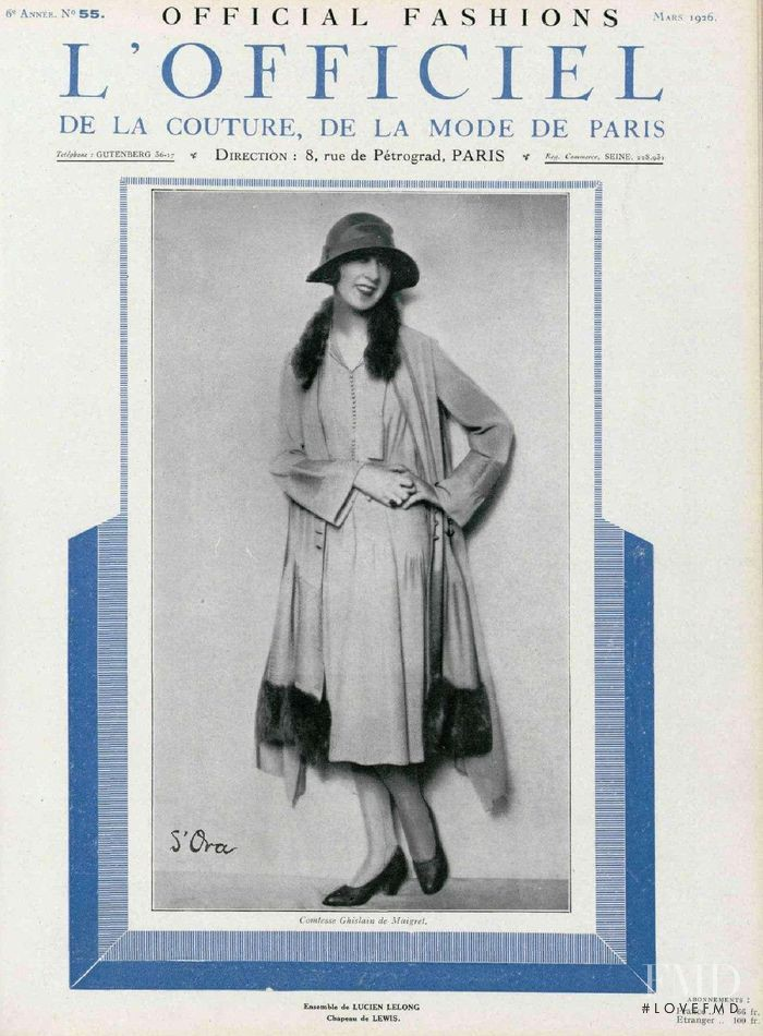 featured on the L\'Officiel France cover from March 1926