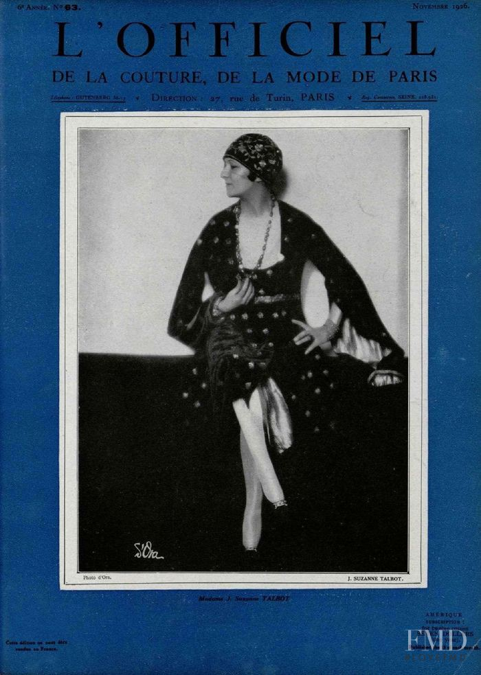 featured on the L\'Officiel France cover from November 1926