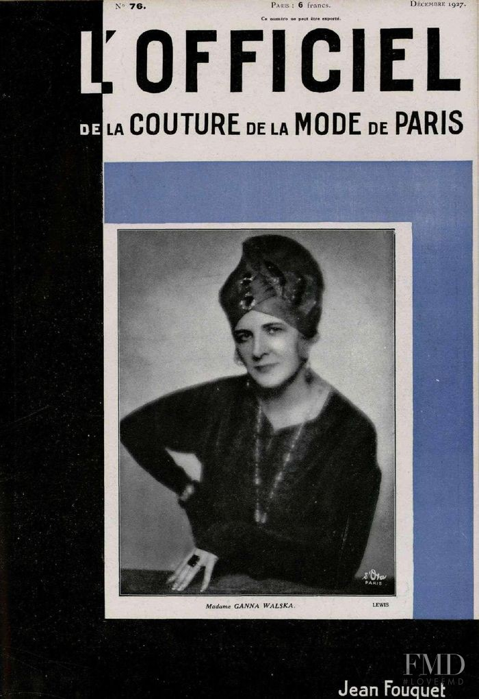 featured on the L\'Officiel France cover from December 1927