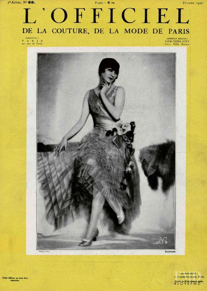 featured on the L\'Officiel France cover from February 1927