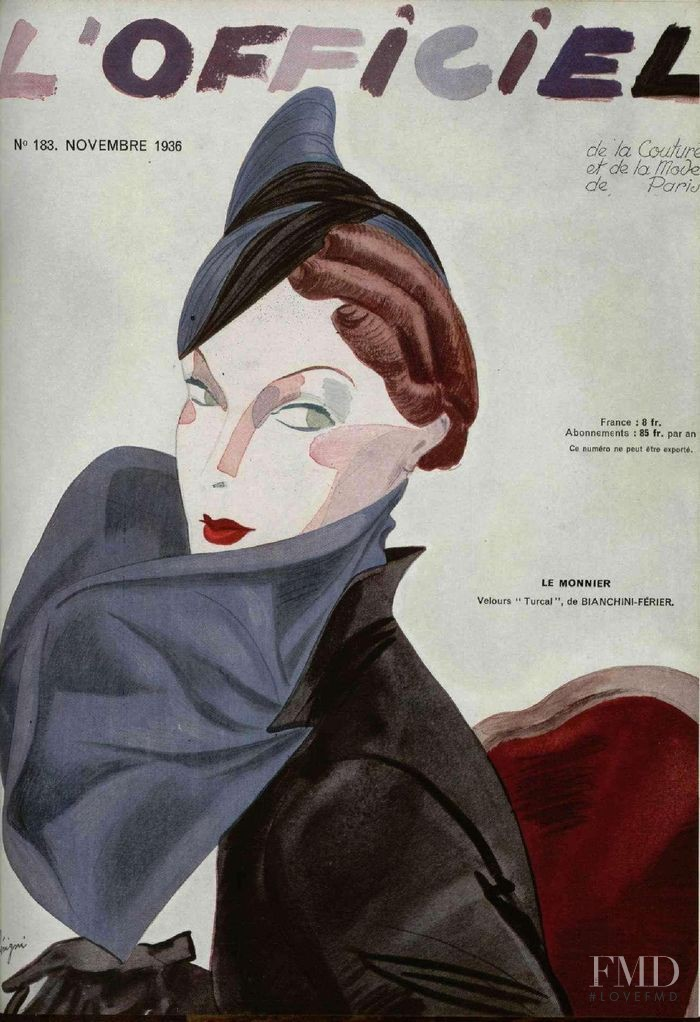 featured on the L\'Officiel France cover from November 1936
