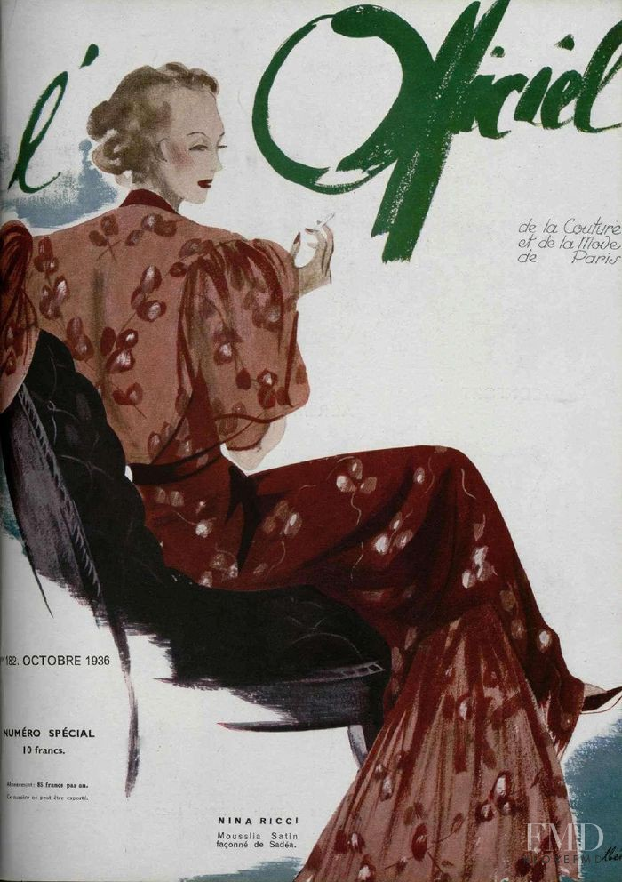 featured on the L\'Officiel France cover from October 1936