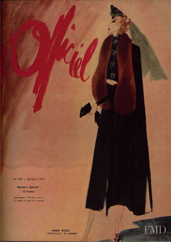 featured on the L\'Officiel France cover from October 1937