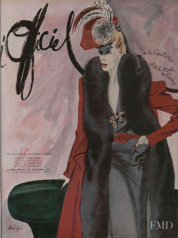 featured on the L\'Officiel France cover from November 1942