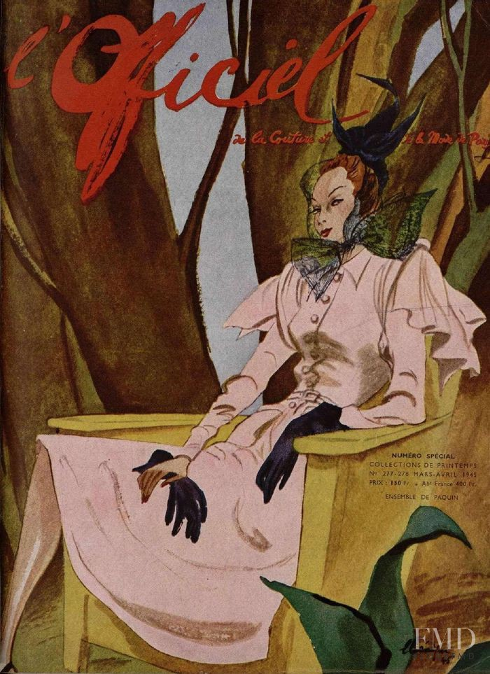 featured on the L\'Officiel France cover from March 1945