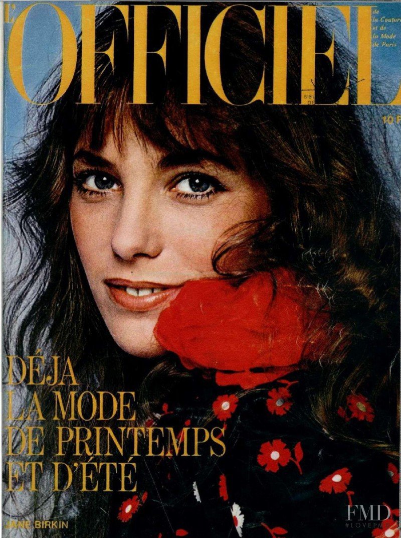 Jane Birkin featured on the L\'Officiel France cover from February 1974