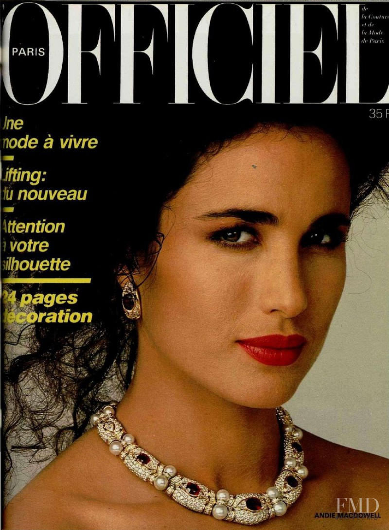 Andie MacDowell featured on the L\'Officiel France cover from April 1986
