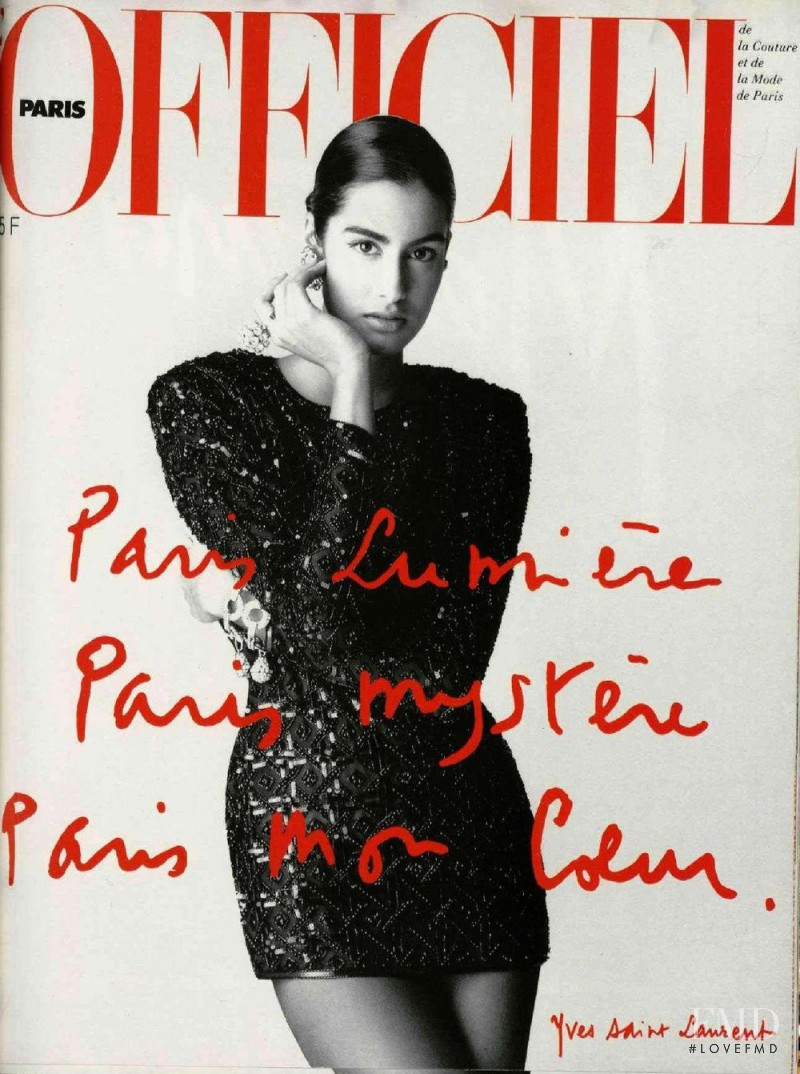 Yasmeen Ghauri featured on the L\'Officiel France cover from April 1990