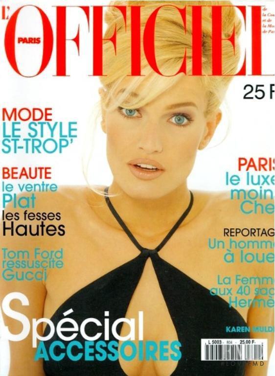 Karen Mulder featured on the L\'Officiel France cover from April 1996